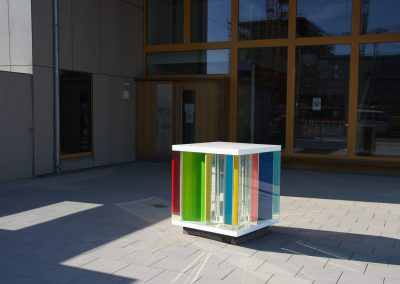 LightCube in front of Kindergarten building public art
