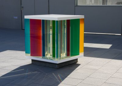 LightCube in front of Kindergarten daytime