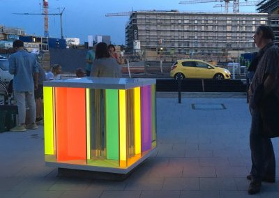 Light Cube illuminated at dusk