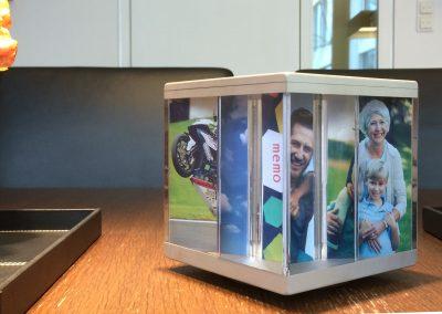 PixCube photo cube with family photos