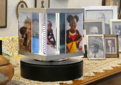 PixCube photo cube with family photographs in a domestic