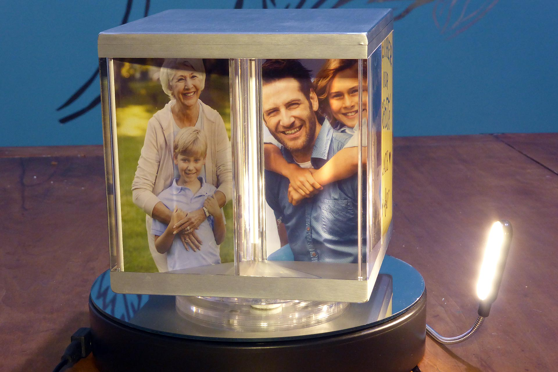 PixCube photo cube with family photographs and lamp