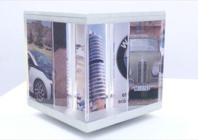 PixCube photo cube with BMW demo photographs as a hobby display